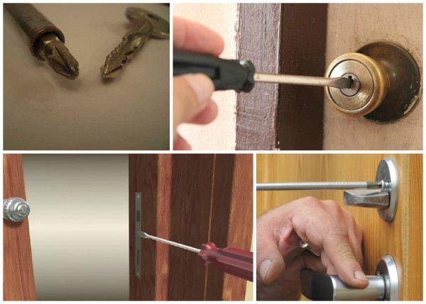 Öffnen und schließen Sie die Tür mit einem Schraubendreher, wenn der Schlüsselgriff vollständig abgebrochen ist